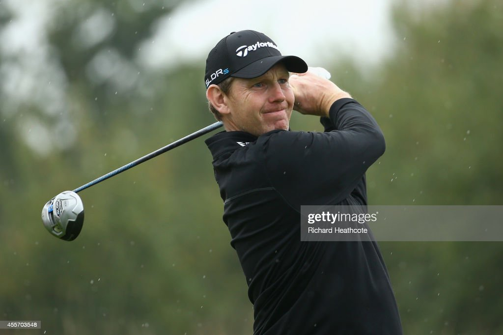<a gi-track='captionPersonalityLinkClicked' href=/galleries/search?phrase=Stephen+Gallacher&family=editorial&specificpeople=215277 ng-click='$event.stopPropagation()'>Stephen Gallacher</a> of Scotland in action during the second round of the ISPS Handa Wales Open at Celtic Manor Resort on September 19, 2014 in Newport, Wales.