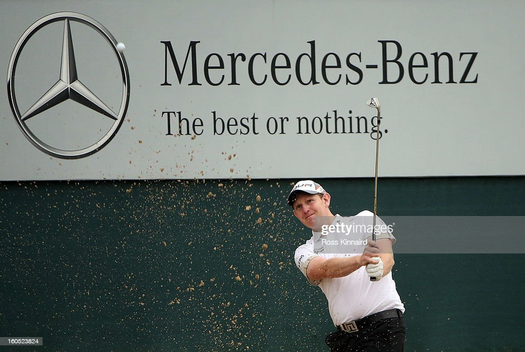 Stephen Gallacher of Scotland on the par five 18th hole during the third round of the Omega Dubai Desert Classic on February 2, 2013 in Dubai, United Arab Emirates.