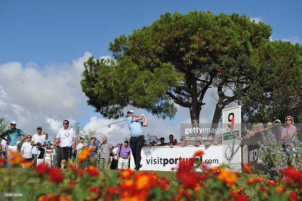 <a gi-track='captionPersonalityLinkClicked' href=/galleries/search?phrase=Stephen+Gallacher&family=editorial&specificpeople=215277 ng-click='$event.stopPropagation()'>Stephen Gallacher</a> of Scotland plays a shot during the first round of the Portugal Masters at the Victoria golf course at Villamoura on October 11, 2012 in Faro, Portugal