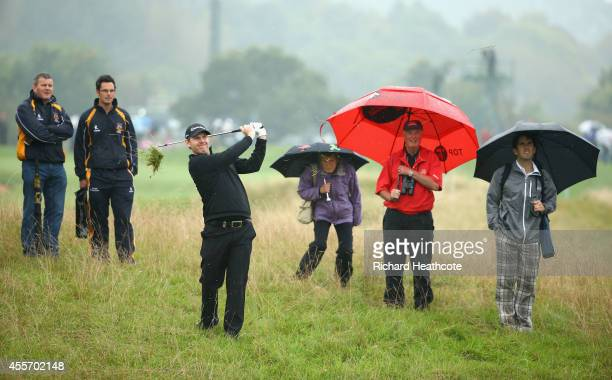 Stephen Gallacher of Scotland plays from the rough on the 2nd during the second round of the ISPS Handa Wales Open at Celtic Manor Resort on...