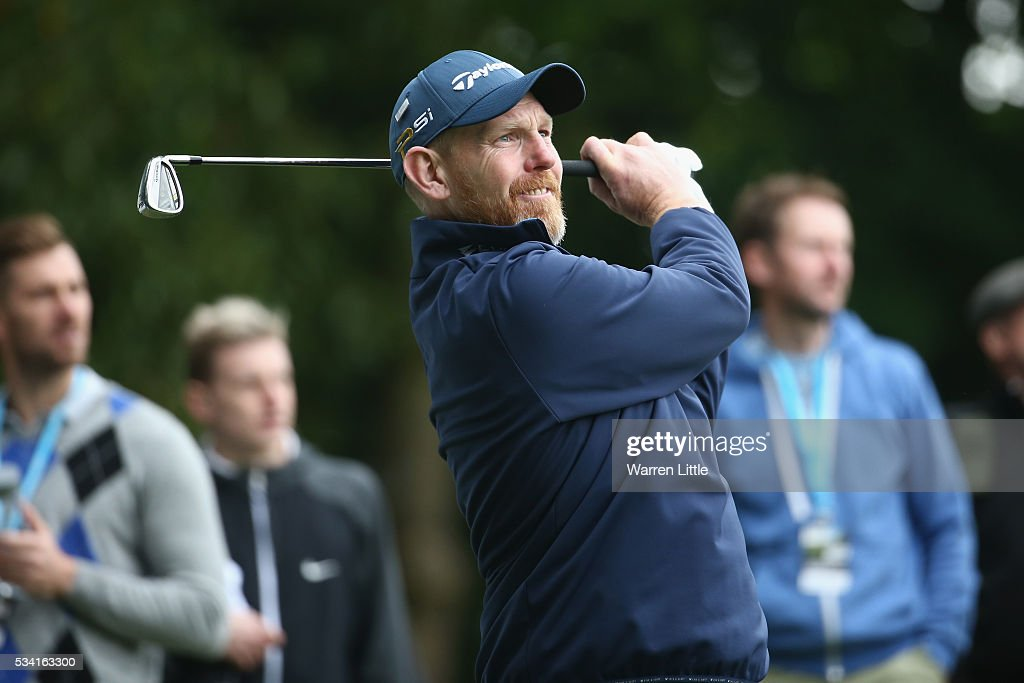 <a gi-track='captionPersonalityLinkClicked' href=/galleries/search?phrase=Stephen+Gallacher&family=editorial&specificpeople=215277 ng-click='$event.stopPropagation()'>Stephen Gallacher</a> of Scotland tees off during the Pro-Am prior to the BMW PGA Championship at Wentworth on May 25, 2016 in Virginia Water, England.