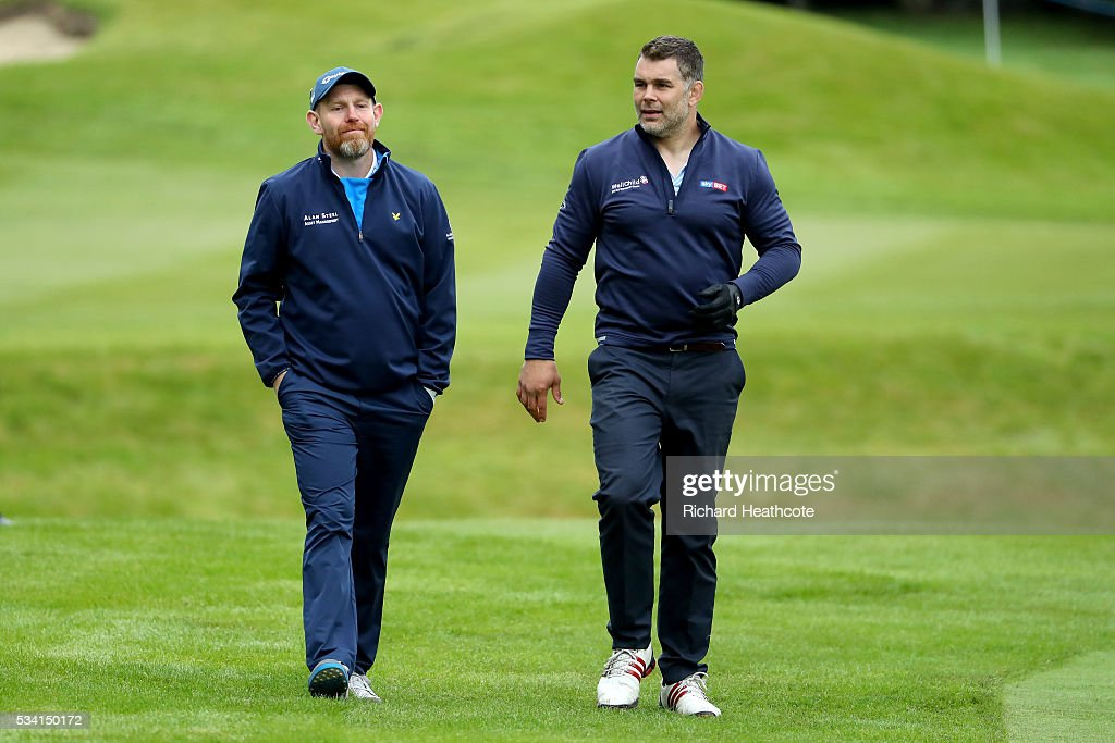 <a gi-track='captionPersonalityLinkClicked' href=/galleries/search?phrase=Stephen+Gallacher&family=editorial&specificpeople=215277 ng-click='$event.stopPropagation()'>Stephen Gallacher</a> of Scotland walks with <a gi-track='captionPersonalityLinkClicked' href=/galleries/search?phrase=Nick+Easter&family=editorial&specificpeople=686040 ng-click='$event.stopPropagation()'>Nick Easter</a> during the Pro-Am prior to the BMW PGA Championship at Wentworth on May 25, 2016 in Virginia Water, England.