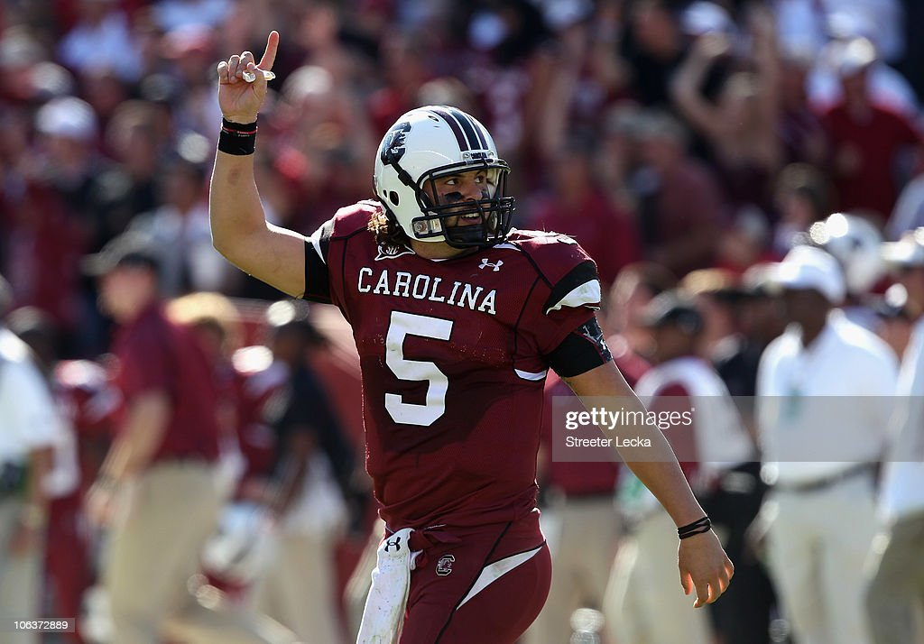 Stephen Garcia #5 of the South Carolina Gamecocks celebrates after throwing a touchdown pass against the Tennessee Volunteers during their game at Williams-Brice Stadium on October 30, 2010 in Columbia, South Carolina.