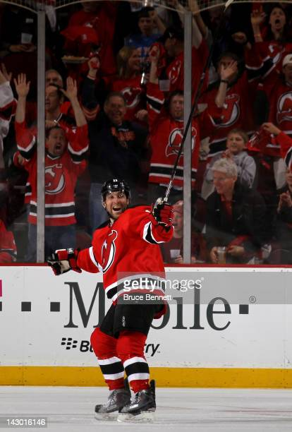 Stephen Gionta of the New Jersey Devils celebrates after he scored a goal in the first period against the Florida Panthers in Game Three of the...