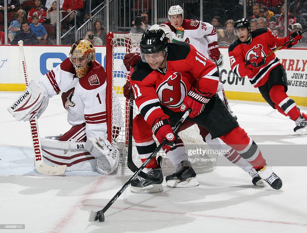 <a gi-track='captionPersonalityLinkClicked' href=/galleries/search?phrase=Stephen+Gionta&family=editorial&specificpeople=817969 ng-click='$event.stopPropagation()'>Stephen Gionta</a> #11 of the New Jersey Devils skates against the Phoenix Coyotes at the Prudential Center on March 27, 2014 in Newark, New Jersey. The Coyotes defeated the Devils 3-2 in the shootout.