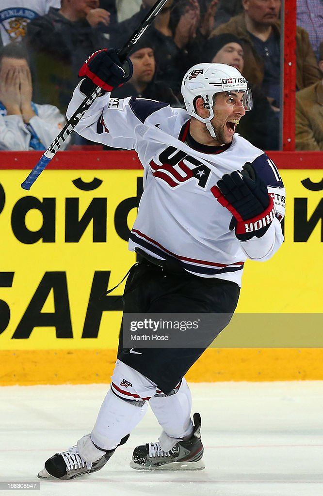 <a gi-track='captionPersonalityLinkClicked' href=/galleries/search?phrase=Stephen+Gionta&family=editorial&specificpeople=817969 ng-click='$event.stopPropagation()'>Stephen Gionta</a> (L) of USA celebrates after he scores hi steam's 3rd goal during the IIHF World Championship group H match between USA and Finland at Hartwall Areena on May 8, 2013 in Helsinki, Finland.
