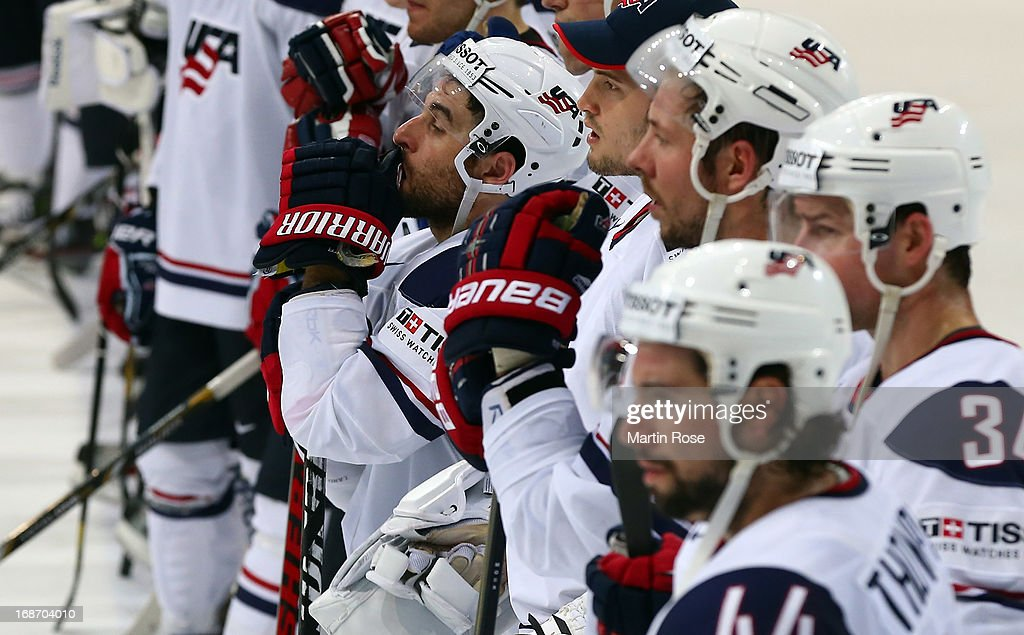 <a gi-track='captionPersonalityLinkClicked' href=/galleries/search?phrase=Stephen+Gionta&family=editorial&specificpeople=817969 ng-click='$event.stopPropagation()'>Stephen Gionta</a> of USA looks dejected after the IIHF World Championship group H match between Slovakia and USA at Hartwall Areena on May 14, 2013 in Helsinki, Finland.