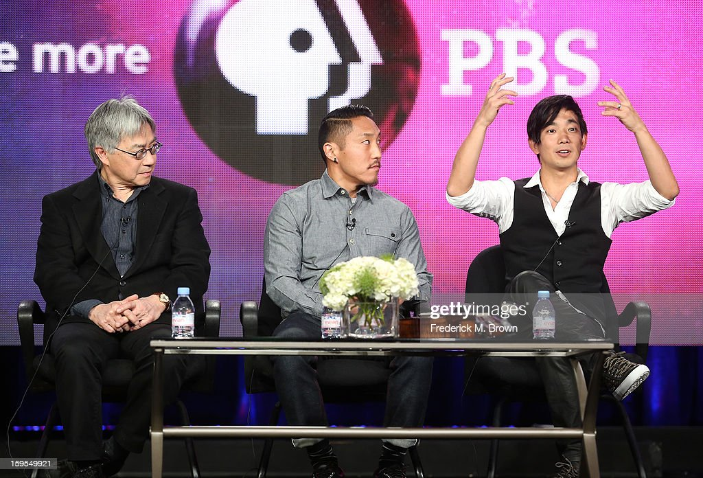 Stephen Gong, executive director, Center for Asian American Media, director Tadashi Nakamura, and musician Jake Shimabukuro speak onstage during 'The Life On Four Strings' Panel discussion at the PBS Portion- Day 2 of the 2013 Winter Television Critics Association Press Tour at Langham Hotel on January 15, 2013 in Pasadena, California.