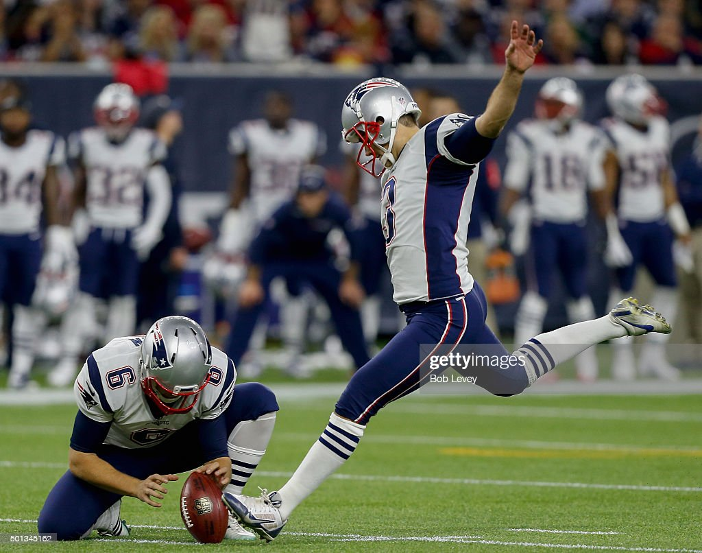 <a gi-track='captionPersonalityLinkClicked' href=/galleries/search?phrase=Stephen+Gostkowski&family=editorial&specificpeople=567502 ng-click='$event.stopPropagation()'>Stephen Gostkowski</a> #3 of the New England Patriots connects on a field goal out of the hold of <a gi-track='captionPersonalityLinkClicked' href=/galleries/search?phrase=Ryan+Allen+-+Jogador+de+futebol+americano&family=editorial&specificpeople=11347226 ng-click='$event.stopPropagation()'>Ryan Allen</a> #6 against the Houston Texans at NRG Stadium on December 13, 2015 in Houston, Texas.