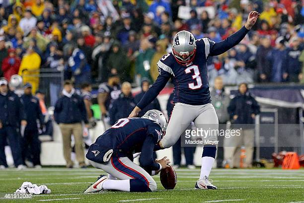 Stephen Gostkowski of the New England Patriots kicks a 21 yard field goal in the second quarter against the Indianapolis Colts of the 2015 AFC...