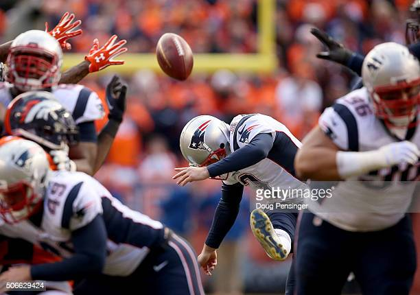 Stephen Gostkowski of the New England Patriots kicks a 46yard field goal in the second quarter against the Denver Broncos in the AFC Championship...
