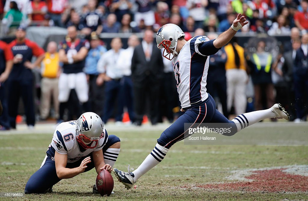 <a gi-track='captionPersonalityLinkClicked' href=/galleries/search?phrase=Stephen+Gostkowski&family=editorial&specificpeople=567502 ng-click='$event.stopPropagation()'>Stephen Gostkowski</a> #3 of the New England Patriots kicks a 53 yard field goal during the second half of the game against the Houston Texans at Reliant Stadium on December 1, 2013 in Houston, Texas.