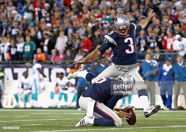 Stephen Gostkowski of the New England Patriots kicks a field goal during the third quarter against the Miami Dolphins at Gillette Stadium on October...