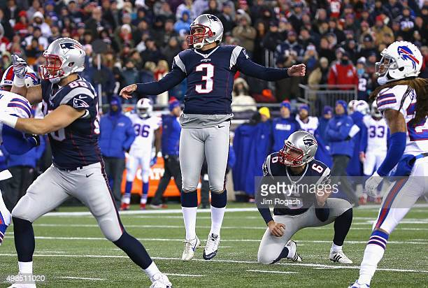 Stephen Gostkowski of the New England Patriots kicks a field goal during the first quarter against the Buffalo Bills at Gillette Stadium on November...