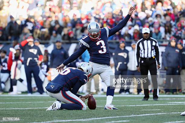 Stephen Gostkowski of the New England Patriots kicks a field goal during the second quarter against the Los Angeles Rams at Gillette Stadium on...