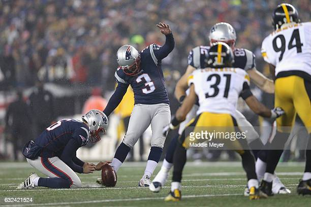 Stephen Gostkowski of the New England Patriots kicks a field goal during the first quarter against the Pittsburgh Steelers in the AFC Championship...
