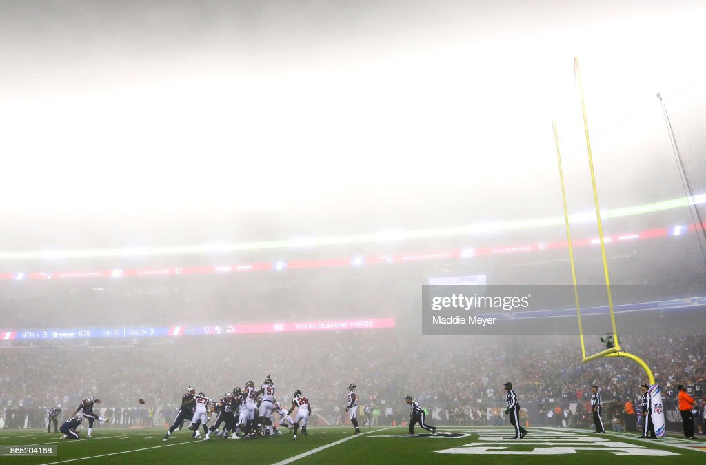 Stephen Gostkowski #3 of the New England Patriots kicks a field goal during the third quarter of a game against the Atlanta Falcons at Gillette Stadium on October 22, 2017 in Foxboro, Massachusetts.