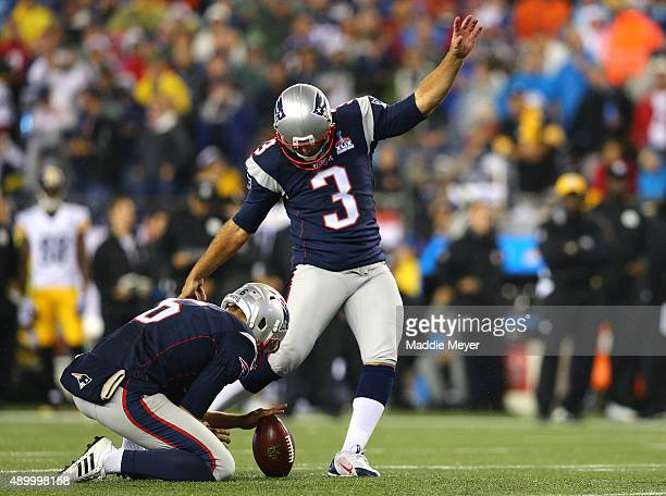 Stephen Gostkowski of the New England Patriots kicks in the second half against the Pittsburgh Steelers at Gillette Stadium on September 10 2015 in...