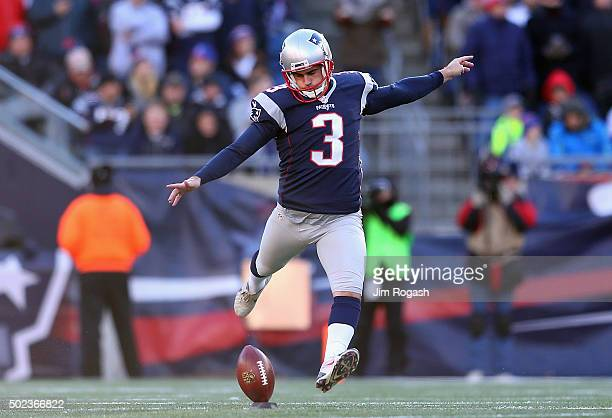 Stephen Gostkowski of the New England Patriots kicks off during the game against the Tennessee Titans at Gillette Stadium on December 20 2015 in...