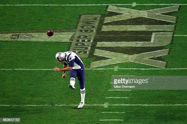 Stephen Gostkowski of the New England Patriots kicks off in the second half against the Seattle Seahawks during Super Bowl XLIX at University of...
