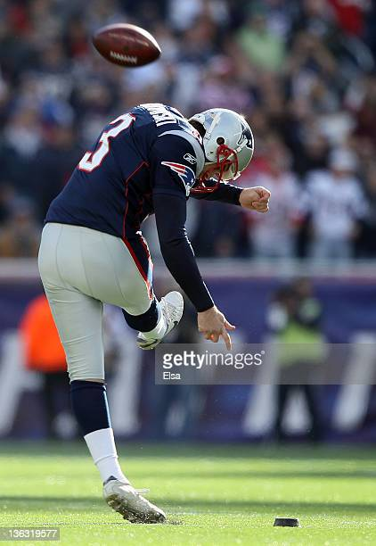 Stephen Gostkowski of the New England Patriots kicks off the ball to start the game against the Buffalo Bills on January 1 2012 at Gillette Stadium...