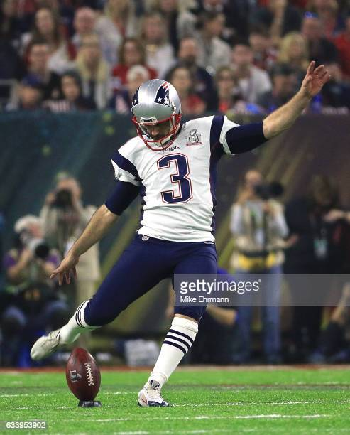 Stephen Gostkowski of the New England Patriots kicks the ball off against the Atlanta Falcons during the fourth quarter during Super Bowl 51 at NRG...
