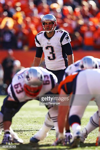 Stephen Gostkowski of the New England Patriots lines up a second quarter field goal against the Denver Broncos during the AFC Championship game at...