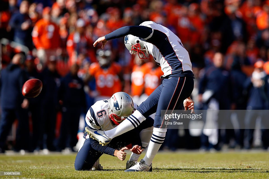 <a gi-track='captionPersonalityLinkClicked' href=/galleries/search?phrase=Stephen+Gostkowski&family=editorial&specificpeople=567502 ng-click='$event.stopPropagation()'>Stephen Gostkowski</a> #3 of the New England Patriots misses an extra point in the first quarter held by <a gi-track='captionPersonalityLinkClicked' href=/galleries/search?phrase=Ryan+Allen+-+Jogador+de+futebol+americano&family=editorial&specificpeople=11347226 ng-click='$event.stopPropagation()'>Ryan Allen</a> #6 against the Denver Broncos in the AFC Championship game at Sports Authority Field at Mile High on January 24, 2016 in Denver, Colorado.