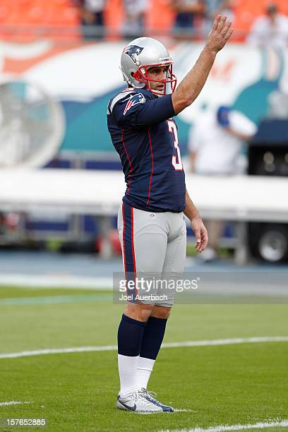 Stephen Gostkowski of the New England Patriots practices kicking prior to the game against the Miami Dolphins on December 2 2012 at Sun Life Stadium...