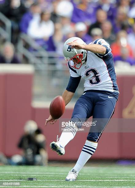 Stephen Gostkowski of the New England Patriots punts the ball during the third quarter of the game against the Minnesota Vikings on September 14 2014...