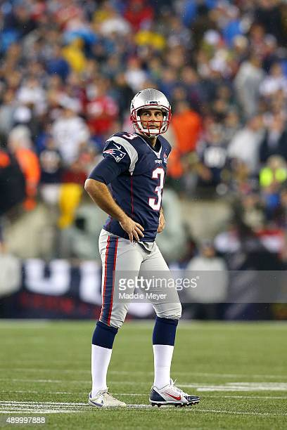 Stephen Gostkowski of the New England Patriots reacts after a kick against the Pittsburgh Steelers at Gillette Stadium on September 10 2015 in...