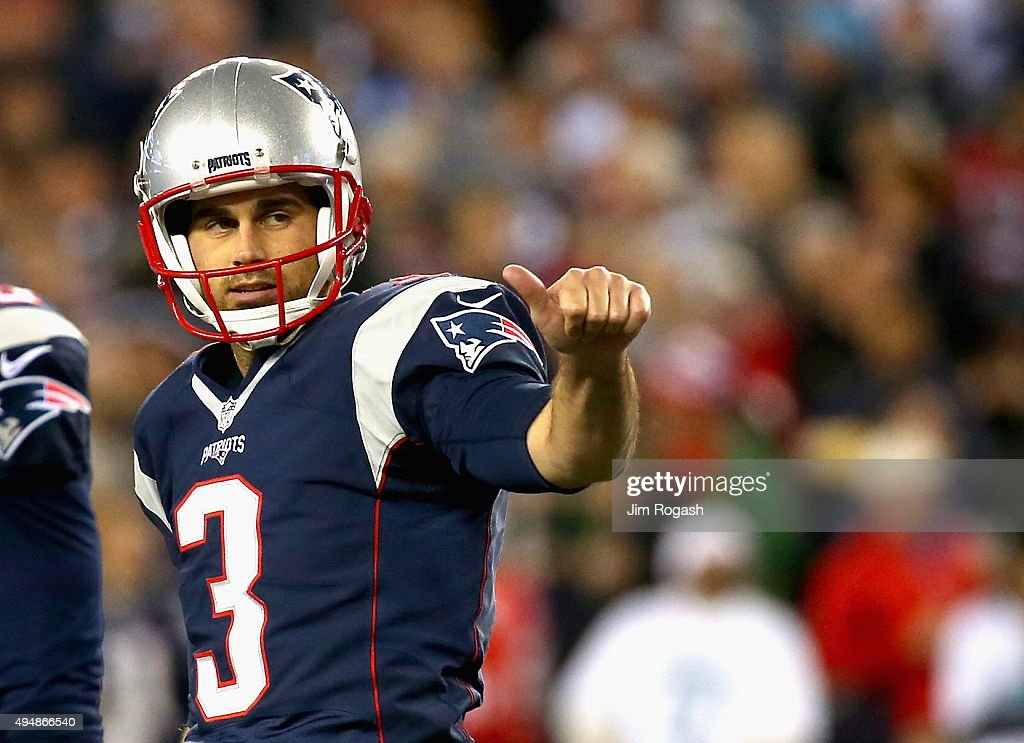 <a gi-track='captionPersonalityLinkClicked' href=/galleries/search?phrase=Stephen+Gostkowski&family=editorial&specificpeople=567502 ng-click='$event.stopPropagation()'>Stephen Gostkowski</a> #3 of the New England Patriots reacts after kicking a field goal during the third quarter against the Miami Dolphins at Gillette Stadium on October 29, 2015 in Foxboro, Massachusetts. It set the franchise record for most consecutive field goals made.