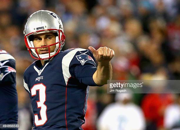 Stephen Gostkowski of the New England Patriots reacts after kicking a field goal during the third quarter against the Miami Dolphins at Gillette...