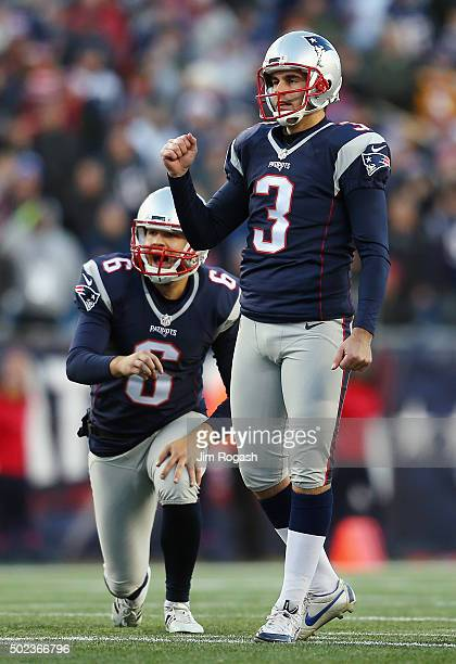 Stephen Gostkowski of the New England Patriots reacts after making a kick during the game against the Tennessee Titans at Gillette Stadium on...