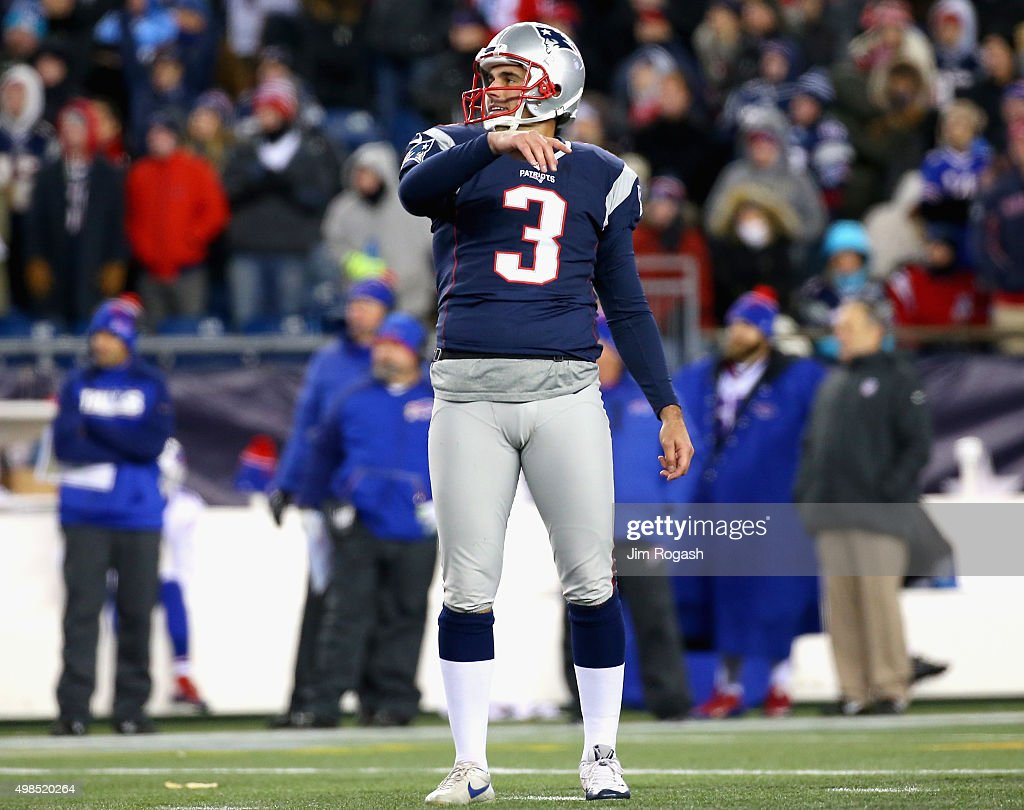 <a gi-track='captionPersonalityLinkClicked' href=/galleries/search?phrase=Stephen+Gostkowski&family=editorial&specificpeople=567502 ng-click='$event.stopPropagation()'>Stephen Gostkowski</a> #20 of the New England Patriots reacts after missing a field goal during the third quarter against the Buffalo Bills at Gillette Stadium on November 23, 2015 in Foxboro, Massachusetts.