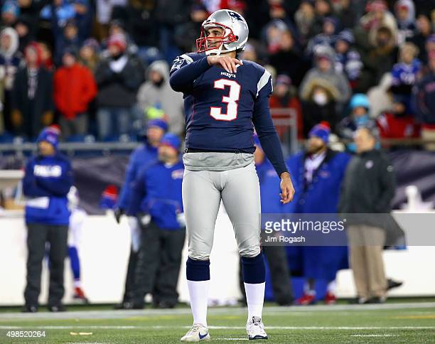 Stephen Gostkowski of the New England Patriots reacts after missing a field goal during the third quarter against the Buffalo Bills at Gillette...