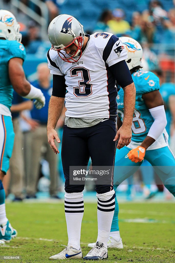 <a gi-track='captionPersonalityLinkClicked' href=/galleries/search?phrase=Stephen+Gostkowski&family=editorial&specificpeople=567502 ng-click='$event.stopPropagation()'>Stephen Gostkowski</a> #3 of the New England Patriots reacts after missing a field goal during the second quarter of the game against the Miami Dolphins at Sun Life Stadium on January 3, 2016 in Miami Gardens, Florida.