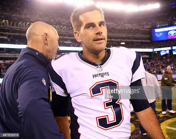 Stephen Gostkowski of the New England Patriots walks off the field after the game against the New York Giants at MetLife Stadium on November 15 2015...
