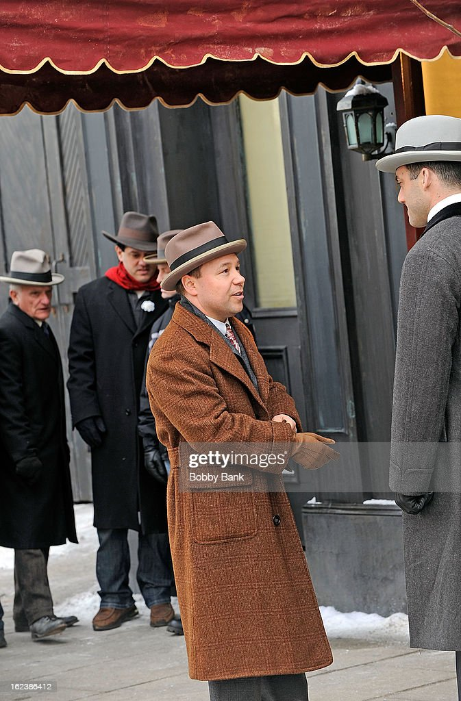 <a gi-track='captionPersonalityLinkClicked' href=/galleries/search?phrase=Stephen+Graham+-+Actor&family=editorial&specificpeople=12186264 ng-click='$event.stopPropagation()'>Stephen Graham</a> as 'Al Capone' and Morgan Spector filming on location for 'Boardwalk Empire' on February 22, 2013 in the Staten Island borough of New York City.