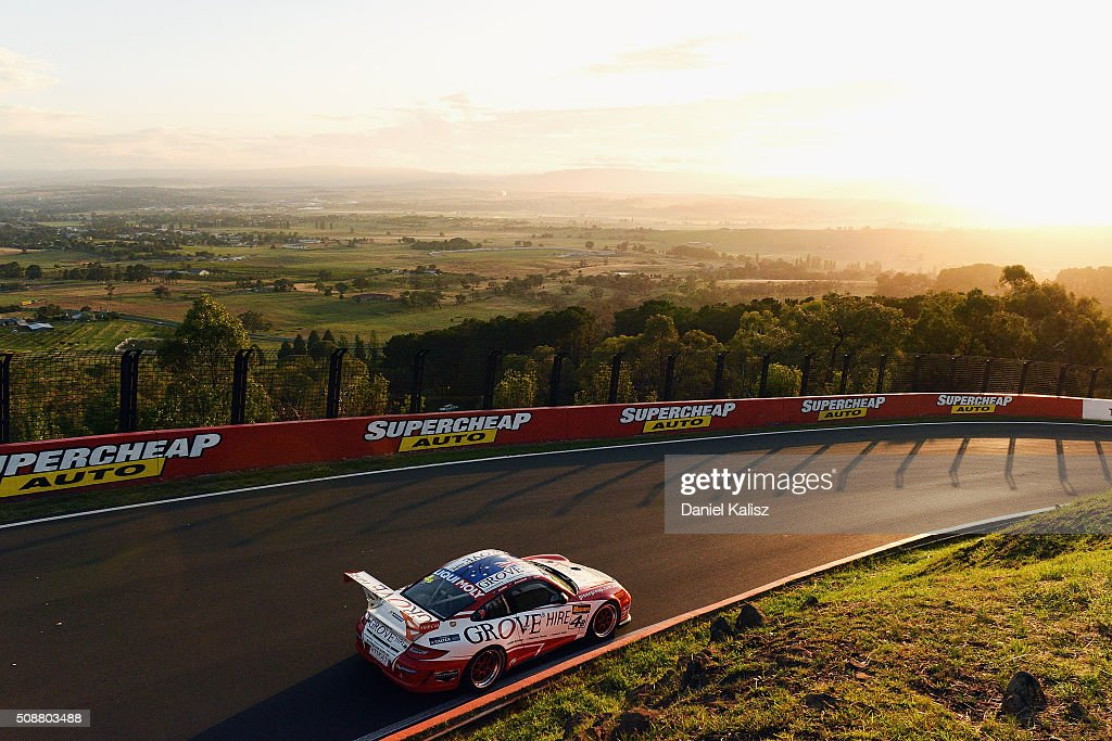 Stephen Grove drives the #4 Grove Hire Porsche 997 GT3 Cup during the Bathurst 12 Hour Race at Mount Panorama on February 7, 2016 in Bathurst, Australia.