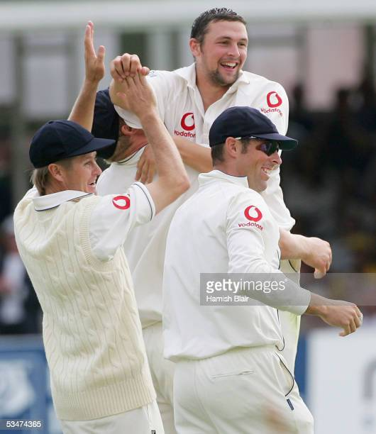 Stephen Harmison of England celebrates the wicket of Michael Kasprowicz of Australia during day four of the Fourth npower Ashes Test between England...