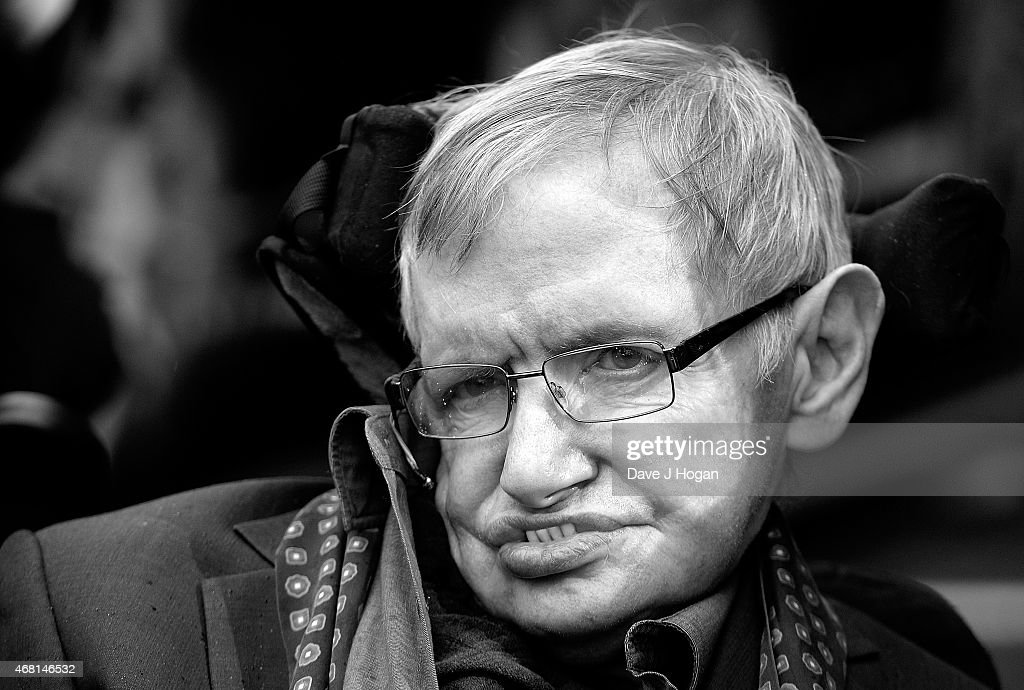 Image has been converted to black and white.) <a gi-track='captionPersonalityLinkClicked' href=/galleries/search?phrase=Stephen+Hawking&family=editorial&specificpeople=215281 ng-click='$event.stopPropagation()'>Stephen Hawking</a> attends 'Interstellar Live' at Royal Albert Hall on March 30, 2015 in London, England.