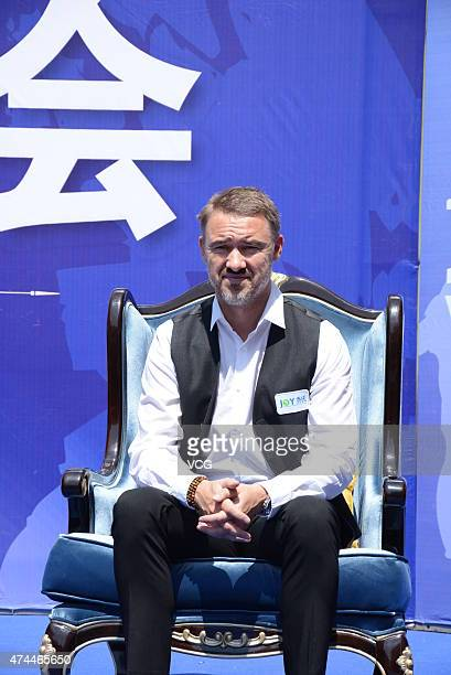 Stephen Hendry attends fan meeting during his trip to promote The World Billiards Masters Tour Jilin Station at on May 23 2015 in Jilin China