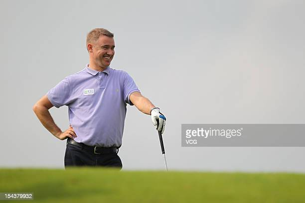 Stephen Hendry of Scotland in action during day one of the Mission Hills Star Trophy at the Mission Hills Golf Club on October 19 2012 in Haikou China