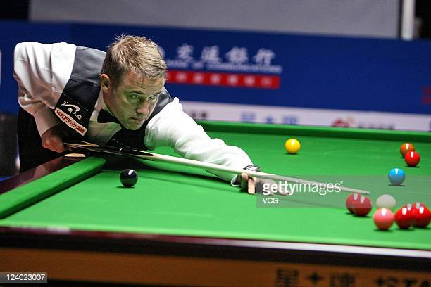 Stephen Hendry of Scotland plays a shot during his match against Robert Milkins of England on day three of the 2011 World Snooker Shanghai Masters at...