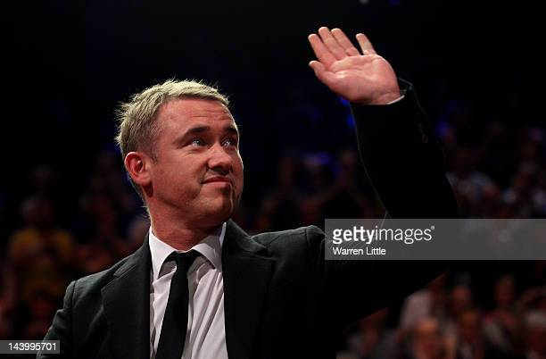 Stephen Hendry of Scotland waves goodbye to the Crucible crowd during the final of the Betfredcom World Snooker Championship at the Crucible Theatre...