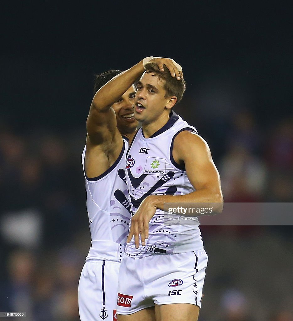 Stephen Hill of the Dockers celebrates after kicking a goal during the round 11 AFL match between the Western Bulldogs and the Fremantle Dockers at...