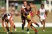 Stephen Hill of the Dockers gathers the ball during the NAB Challenge match between the Fremantle Dockers and the Melbourne Demons at Fremantle Oval...