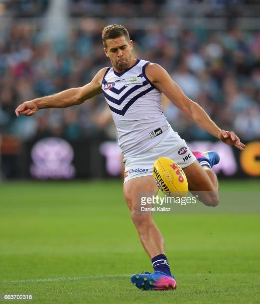 Stephen Hill of the Dockers kicks the ball during the round two AFL match between the Port Adelaide Power and the Fremantle Dockers at Adelaide Oval...