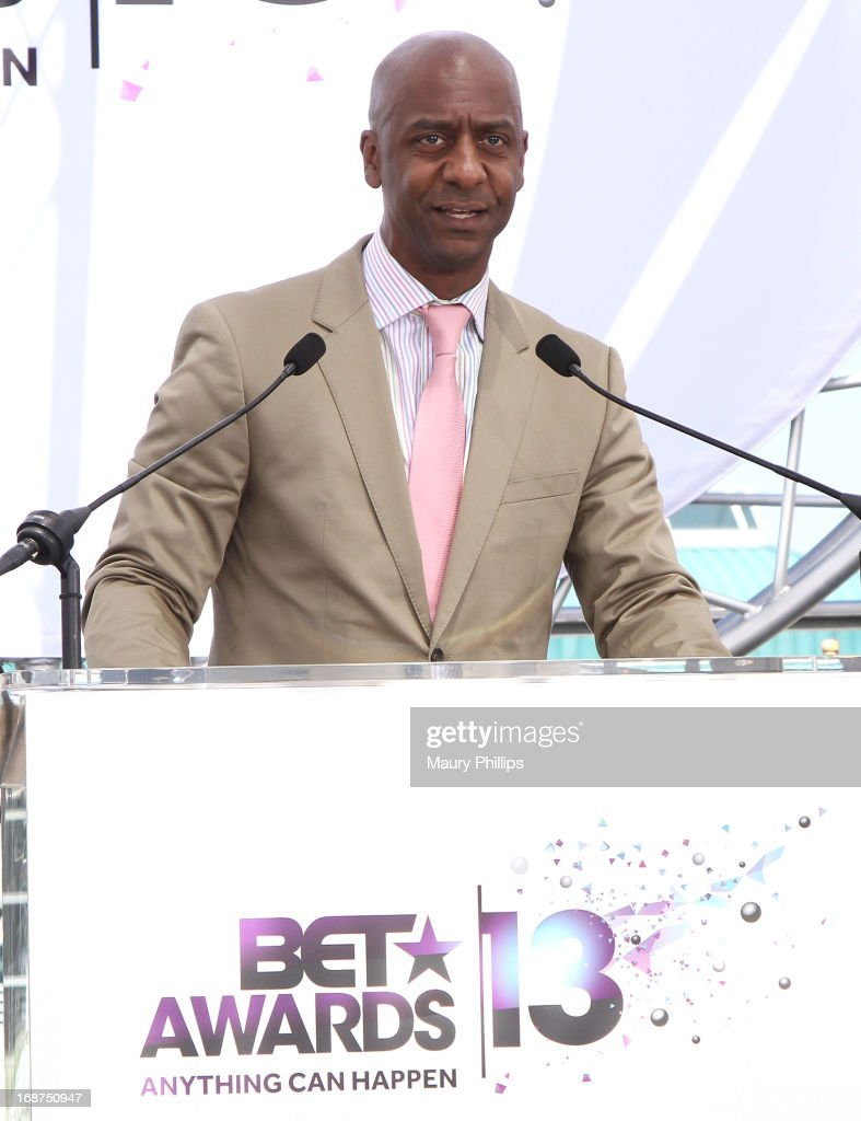 <a gi-track='captionPersonalityLinkClicked' href=/galleries/search?phrase=Stephen+Hill+-+Businessman&family=editorial&specificpeople=9737627 ng-click='$event.stopPropagation()'>Stephen Hill</a> speaks onstage during the BET Awards 2013 Press Conference at Icon Ultra Lounge on May 14, 2013 in Los Angeles, California.